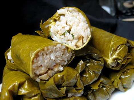 Vegetarian Stuffed Grape Leaves w/ Parsley, Pine Nuts ...
